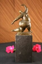 LOVELY ABSTRACT SIGNED MILO PURE 100% BRONZE CHUBBY GIRL STATUE SCUPLTURE DECOR
