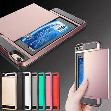 Hot Shockproof Hybrid Card Slot Holder Wallet Hard Case Cover For Samsung iPhone
