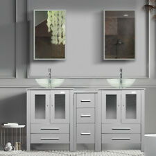 """60"""" Bathroom Vanity Gray Clear Tempered Glass Vessel Sink Small Cabinet Combo"""