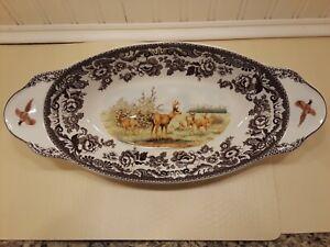 "Spode Woodland Bread Tray MULE DEER Design (15.25"" x 7"") - Fine Porcelain NWT"