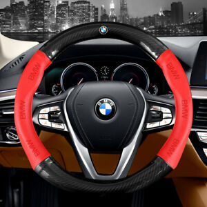 "15"" Car Steering Wheel Cover Genuine Leather For BMW Red"