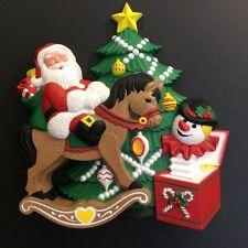 "Vintage Burwood Products Christmas Santa Molded Wall Hanging 10""x10"" MINT"
