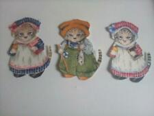 """New listing Cat Fabric Applique,iron sew in outfits 3 different ones 3"""" Kids clothes crafts"""