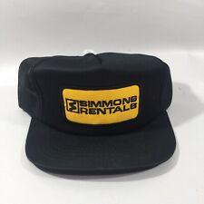 Simmons Rentals Snapback Vintage Hat Mesh Back Black 1980s Trucker Style Hat