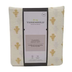 THRESHOLD Printed Gold Flower 100% Cotton Flannel Sheet Set Twin NEW