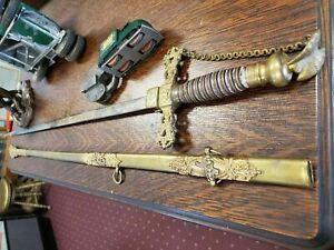 Antique Dress Sword Fraterna Knights of the Golden Eagle Gold Inlay Fancy Etched