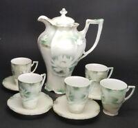 Antique Weimar German Porcelain Chocolate Pot Cup Saucer Tea Set Bird & Lotus