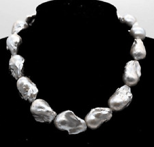 "18""25-30mm natural south sea silver grey baroque pearl necklace"