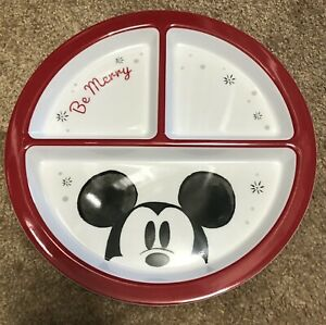 NEW Pottery Barn Kids Mickey Mouse Divided Melamine Plate Christmas Holiday
