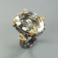 Natural Green Amethyst 925 Sterling Silver Ring Size 7/RS18-0036