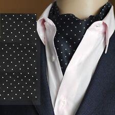 Premium - Black & White Mini Polka Dot - Mens Silk Cravat 'Ascot Tie'