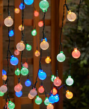 Solar Power 50 Count LED Multi-Colored Bulb Garden Yard String Lights