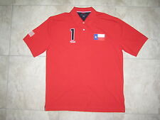 TOMMY HILFIGER USA AMerica July 4th Texas Patch Red Polo Knit Shirt USED 2XL XXL