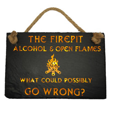 More details for slate hanging signs, garden fire pit sign, alcohol & open flames, patio signs