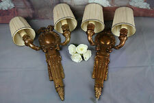 PAIR French Brass regency Bow sconces double arm 1930's wall lights