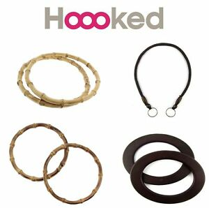 Hoooked Bag Handles - Shoulder Strap - Bamboo Wooden Oval Hoops Zpagetti