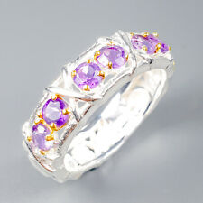 Handmade Natural Amethyst 925 Sterling Silver Ring Size 7.75/R118605