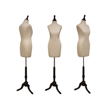 Female Adult Coat Form Mannequin Torso Pinnable Dress Form with Black Wood Base