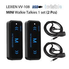 2x LEIXEN VV-108 MINI Talkie walkie &Earpiece UHF 400-480 USB Power Supply Noir