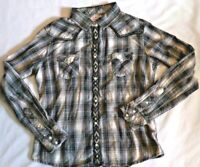 PANHANDLE Women's Large SHIRT Top Pearl Button Down WESTERN Plaid RODEO Black
