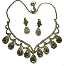 Silver Beautiful Emerald Necklace Set Victorian Antique Rose Cut Diamond 6.16ct