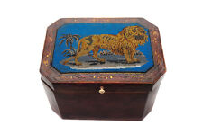 "18th c. Leather covered 7"" Box w/Lion Beads Mosaic figure"