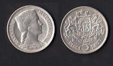 SILBER SILVER LETTONIA 5 LATI 1932 Argento 0,835 QUASI FDC  Peso gr. 25,00 rara