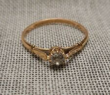 Dainty Old European Gold & Diamond Solitaire Ring Sz 10-1/4 Estate Russian Lady