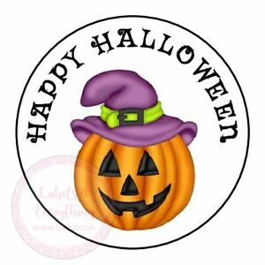 Happy Halloween Pumpkin Thank You Stickers Labels Party Sweet Cones Gift