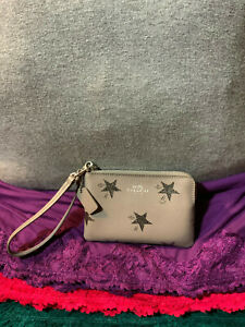 Coach Carriage Light  Gray Silver Stars Coated Canvas Credit Card Zip  Wristlet