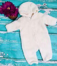 ⭐️ BABY GAP ⭐️ 3-6 Month Cream White Sherpa Fuzzy Bear Hoodie Bunting Snowsuit