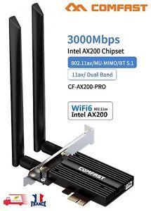 Carte Réseau Wifi 6 + Bluetooth 5.1, 802.11AX 2.4G/5Ghz PCI Express 3000Mbps