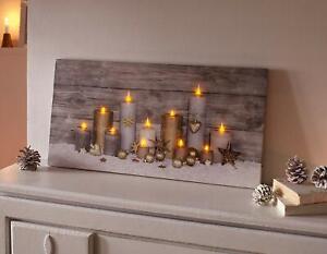 """LED Bild """"Kerzenschein"""" Leinwand auf Holz Rahmen, Advents Weihnachts Leucht Deko"""