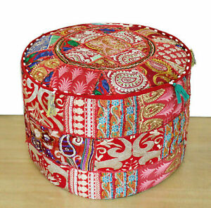 Embroidered Vintage ottoman puff cover Red cotton patch work footstool cover