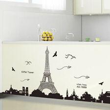 90 * 60cm Removable Paris Eiffel Tower Art Decal Wall Sticker Mural Home Decor