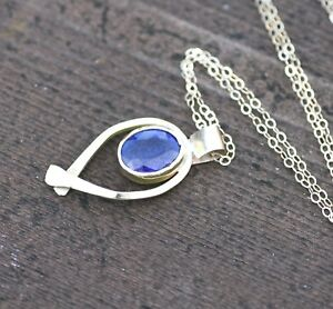 Natural Blue Sapphire Pendant Solid 14K Yellow Gold 5th 10th Anniversary