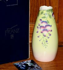 """FRANZ Porcelain Wisteria Sculptured Flower VASE 10"""" NEW in BOX #FZ00091"""
