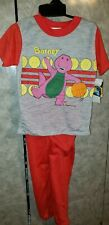 New Vintage 1992 BARNEY DINOSAUR 2 Piece Pajamas The Lyons Group Boys B 4-5 Red