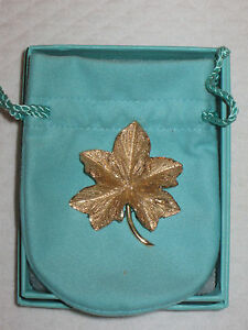 Vintage Tiffany & Co. 14k Gold Maple Leaf Pin Brooch - Drawstring Pouch and Box
