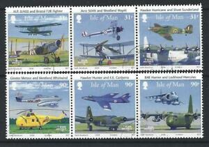 ISLE OF MAN 2008,ROYAL AIR FORCE SET OF 6 FINE USED IN STRIPS OF THREE