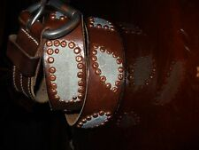 Brown Leather Belt, Teal Suede Patch Inlays, Antique Brass Rivets, Handmade 34