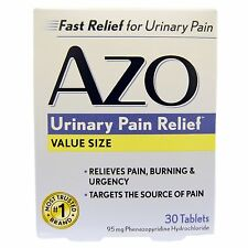 AZO - URINARY PAIN RELIEF - 30 TABLETS TARGETS URINARY PAIN, BURNING & FREQUENCY