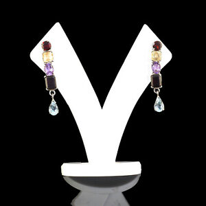 Natural Multi Gemstones Xquisite Earrings 925 Solid Sterling Silver 9.10 Gms