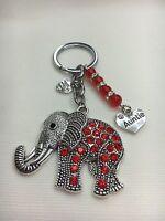 Personalised Handmade Red Elephant Keyring Bag Charm Gift choose mum, sister etc
