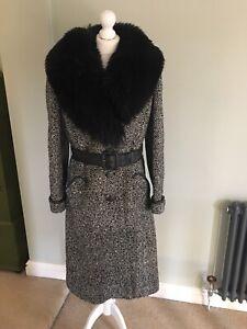 Vintsge 1960's-1970's Alexon Wool Coat With Sheepskin Collar Size 12-14