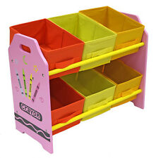 Bebe Style Childrens Crayon Wooden Storage Unit,6 Bins-Toy Organizer . Kids-NEW
