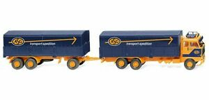 """Wiking 043308 - 1/87 Flatbed Trailer (Volvo F89) """" Asg """" - New"""