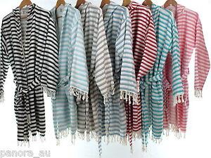 CHEVRON Hooded Turkish Towel Bathrobe Pool Beach Dress Unisex Bamboo Cotton