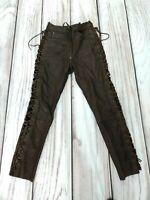 Vintage Hein Gericke Classic Gear Brown Leather Motorbike Trousers Pants W30 L31