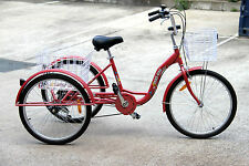 "Trike Bike Adult Tricycle 24"" Aluminium 3 Wheeled - 6 Gears & Baskets - RED"